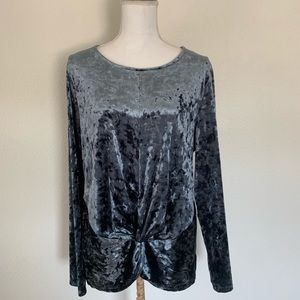 Pleione crushed velvet long sleeve top Size L Blue